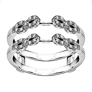0.38CT Black and White Diamonds Infinity Ring Guard Enhancer set in Sterling Silver (0.38CT TWT Black And G-H I2-I3 Diamonds)