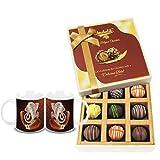 Chocholik Belgium Chocolates - 9pc Heavenly Treat Of Truffles With Diwali Special Coffee Mugs - Diwali Gifts