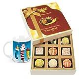 Sweetened Collection Of White Chocolates With Christmas Mug - Chocholik Luxury Chocolates