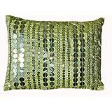 Ultra-Snob El Verde-Glitterati Faux Dupion Cushion Green