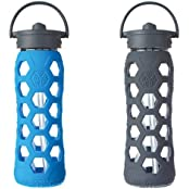 LifeFactory 22oz Glass Bottle With Straw Cap 2 Pack - Ocean & Carbon,
