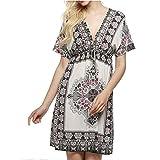 Women Summer Deep V-Neck Print Cover Up Beach Dress (Free-Size)