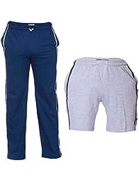 TeesTadka Men's Cotton TrackPants For Men And Shorts For Men Value Pack / Combo Offers For Men Pack Of 2