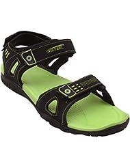 Steel Black Green Sandals & Floaters