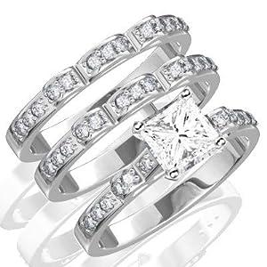 1 Carat Princess cut Diamond Trio Bridal Set on 10K White Gold