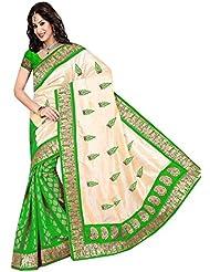 SATBIR Beige & Green Chanderi Embroidered Saree With Green Chanderi Unstiched Blouse