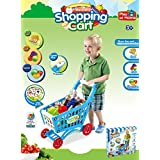 PowerTRC® Mini Shopping Cart With Full Grocery Food Playset Toy For Kids -Blue