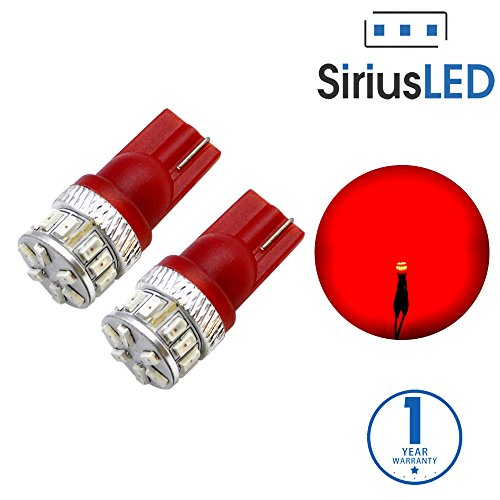 SiriusLED Extremely Bright 18W Error Free 3014 Chipset SMD LED Bulbs for Car Interior Lights License Plate Dome Map Side Marker Door Courtesy T10 168 192 194 2825 W5W Red