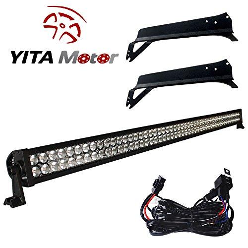 YITAMOTOR 52″ inch 300W LED Light Bar+Mounting Brackets for Jeep TJ Wrangler+Wiring Spot Flood