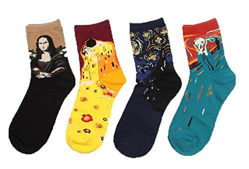 LifeWheel 4 Paar Damen Maedchen Stricken Mehrfarbig Witzige Baumwolle Bunt Muster Socken