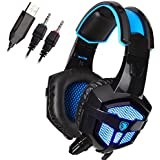 Sades SA-738 3.5mm Wired Stereo Lightweight Over Ear Gaming Headphones Blue Led Lighting Headsets With Microphone...