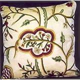 Crewel Pillow Lotus Cream Cotton Velvet (26X26)