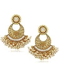 VK Jewels Kundan Pearl Drops Gold Plated Alloy Chandbali Earring Set For Women & Girls -ERZ1298G [VKERZ1298G]