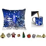 MeSleep Merry Christmas Cushion Cover In Digital Print, Mug And Christmas Decoration Combo - B018KARHI4