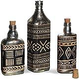 FABULIV DBN101 Vintage Silver Antique Decorative Bottles (Set Of 3) Table Top Accessory Home Decor Gift Item Showpeice