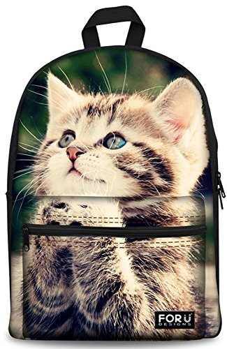 Backpack Bags,FOR U DESIGNS Casual Daypacks Cute Cat Fashion School Backpack Rucksack Back Pack Fits 15 inch Laptop