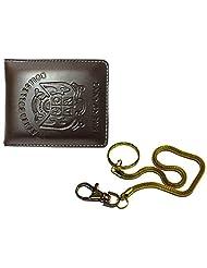 Apki Needs Sweet Brown Men's Wallet And Beautiful Golden Chain Keychain Combo