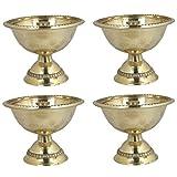 Set Of 4 - Handmade Indian Brass Oil Puja Lamp - Diya Lamp Engraved Design 2 X 2.5 X 2.5 Inch