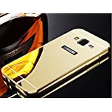 D-kandy Aluminum Metal Bumper With PC Mirror Back Cover Case For Samsung Galaxy J3 - GOLD