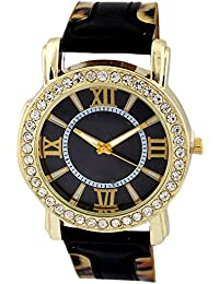 Geneva Stylish Crystals Studded Classic Black Leopard Print Strap Designer Analog Watch - For Girls, Women