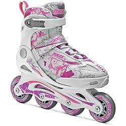 Roces Compy 7.0 Girl - Patines en línea para niña, color blanco / violeta / rosa, talla 38-41