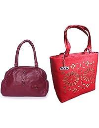 Arc HnH Women HandBag Combo - Elegant Pink + Blossom Red