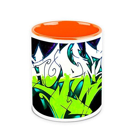 HomeSoGood The Green And White Graffiti White Ceramic Coffee Mug - 325 Ml