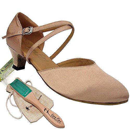 Bundle Lightweight Very Fine Women Ballroom Salsa Latin Tango Dance Shoe 9691 + Brush + Pouch, Light Brown Satin 7.5 M US 1.3 Inch