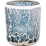 Kiera Grace Mosaic Glass LED Candle, 2.76 By 3.15-Inch, Seaside Fragrance