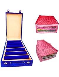 Atorakushon 6 Roll Rod Wodden Velvet Bangles Box Jewelry Storage Box With 1 Saree Cover 1 Blouse Cover