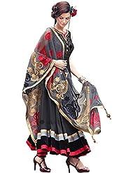 KS FASHION New Designer Embroider Black Color Velvet & Georgette Anarkali Suit (257_Anarkali)