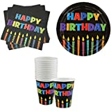 Party Time Happy Birthday W/ Candles Paper Plates (18), Luncheon Napkins (20) & 9 Oz. Cups With Circle Graphic