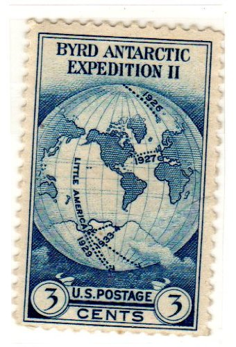 Postage Stamps United States. One Single 3 Cents Dark Blue World Map on van der Grinten's Projection Stamp, Byrd Antarctic Issue, Dated 1933, Scott #733.