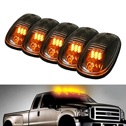iJDMTOY® 5pcs Amber LED Cab Roof Top Marker Running Lights For Truck SUV 4×4 (Clear Lens Lamps)