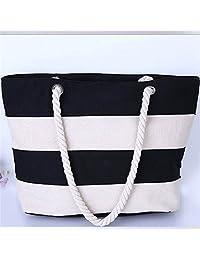 Mutifunctional Handbags Casual Canvas Striped Shoulder Bags Large Shopping Bag Priting Lunch Bag Beach Bag Feminina...