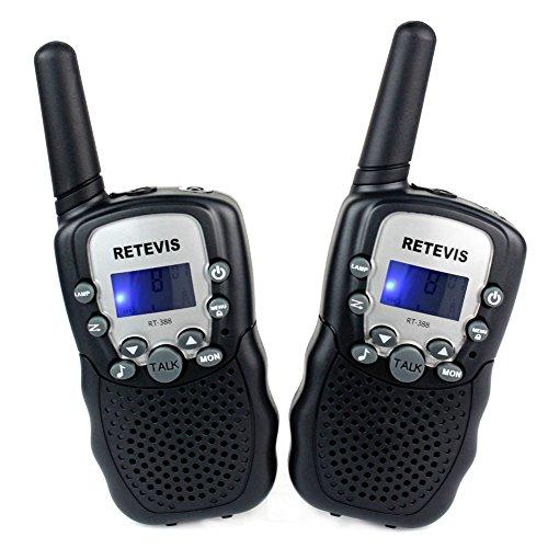 Retevis RT-388 Niños Walkie-talkie UHF 446MHz 8 Canales 0.5W con pantalla LCD y Linterna Incorporado Radio de Juguete Portátil y Aficionado (Negro, 1 par)