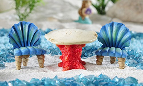 Giftcraft Set of Miniature Under The Sea Coral and Seashell Table & 2 Chairs