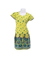 Olivia Women's Printed Yellow Kurta With Dori - Lemon Yellow