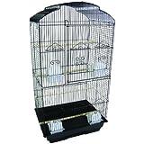YML 3/8-Inch Bar Spacing Tall ShellTop Bird Cage, 18-Inch By 14-Inch, Black