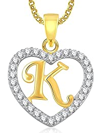 DC Gold Plated Alphabet 'K' Letter Heart Pendant Locket With Chain For Men And Women/Boys & Girls