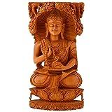 Shiva Enterprises Wooden Buddha With Duck In Hand Stiiting Under Tree - (25 Cm X 13 Cm X 9 Cm)