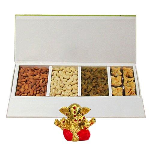 Chocholik Belgium Chocolates - Heavenly Treat Of Almonds, Cashew, Raisin And Baklava Box With Small Ganesha Idol...