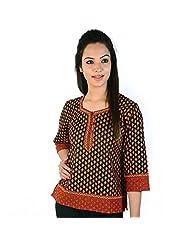 Jaipur RagaJaipuri Print Designer Red-Black Cotton Kurti Red-Black Girls Kurti