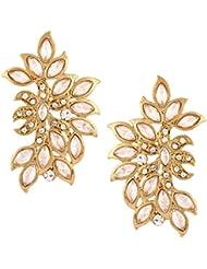 The Jewelbox American Diamond Kundan Look Wild Leaf Antique Gold Plated Earring