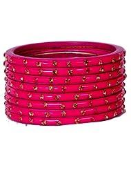 Dulari Stone Embellished Pink Lac Round Simple Bangles For Women (Set Of 8 Bangles)