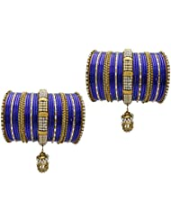 Blue Bridal Chura Wedding Bangles Chuda By My Design(size-2.6)
