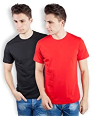TOMO Men's Cotton Solid Color Round Neck T-shirt Combo Pack Of 2 - B00ZRLHAZK