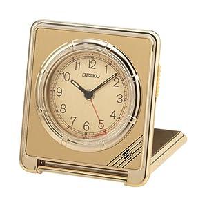 Seiko Travel Alarm Clock Ultra Thin Gold-Tone Case #QUH301FRH