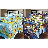 Renown Vinnie The Pooh & Doraemon Cartoon Prints Reversible Single Bed AC Blanket / Dohar Combo Set Of 2 Pc