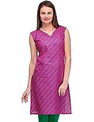 AngelFab Pink Color Cotton Fabric Women's Straight Kurti - B01LEUV47W